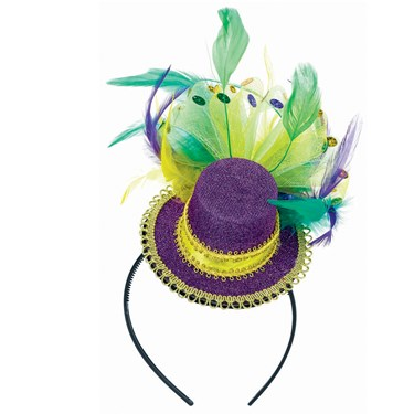Mardi Gras Feathered Adult Headband