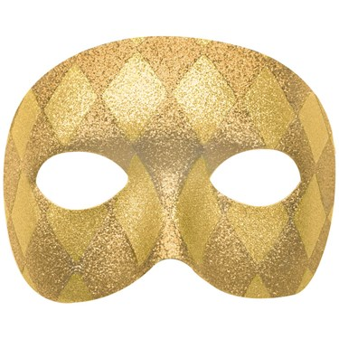 Mardi Gras Gold Harelquin Adult Mask