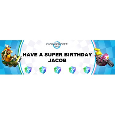 Mario Kart Wii - Princess Peach Personalized Vinyl Banner