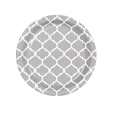 Medium Gray Quatrefoil Dessert Plates (8)