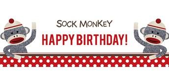 Sock Monkey Red Birthday Banner