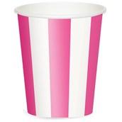 Hot Pink Stripe 12 oz. Paper Cups