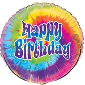 Happy Birthday Tie Dye Foil Balloon
