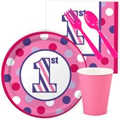 1st Birthday Girl Sweet Stripes Snack Party Pack