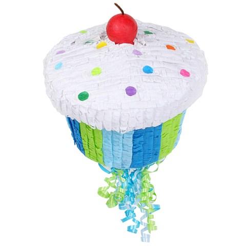 """Blue Cupcake 13"""" Pull-String Pinata"""