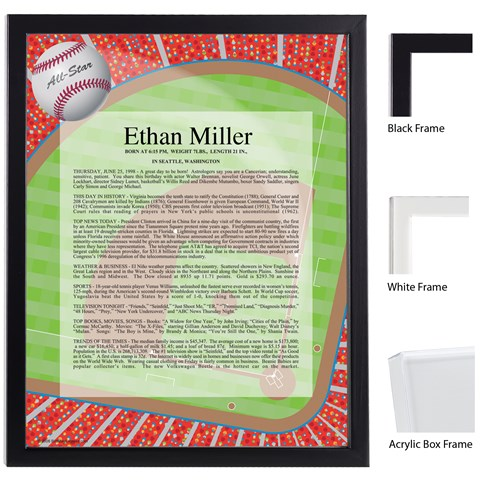 Baseball Keepsake Scroll