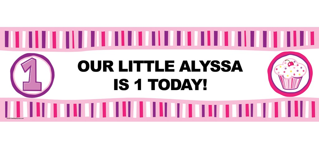 Pink Lil' Cupcake 1st Personalized Birthday Banner