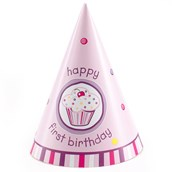 Girl's Lil' Cupcake 1st Birthday Cone Hats