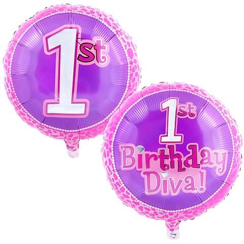 Diva 1st Birthday Foil Balloon