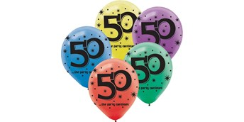 50th Celebration Latex Printed Balloons