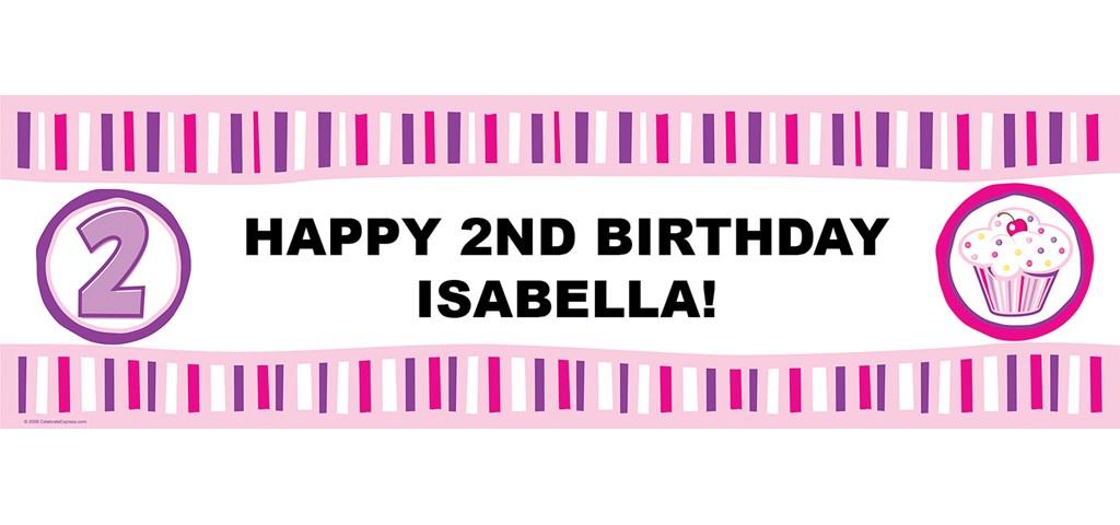 Girl's Lil' Cupcake 2nd Birthday Personalized Birthday Banner