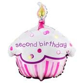 Girl's Lil' Cupcake 2nd Birthday Foil Balloon