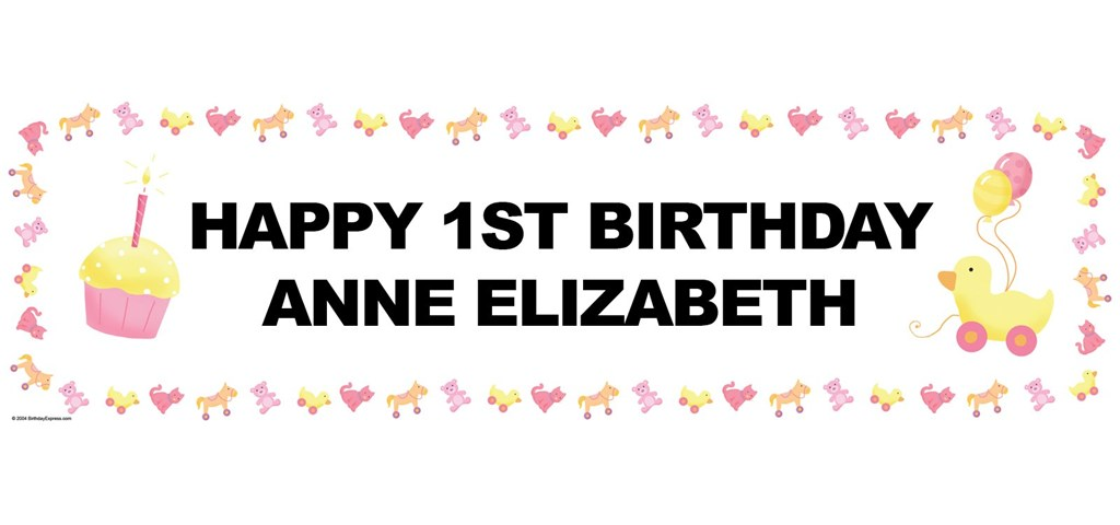 Girl's Little 1 Personalized Birthday Banner