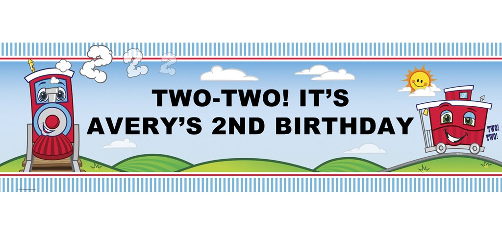 Two-Two Train 2nd Personalized Birthday Banner