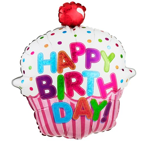 Happy Birthday Pink Cupcake Jumbo Foil Balloon