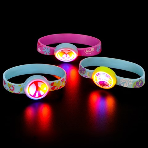 Light up Peace Sign Bracelet Asst.