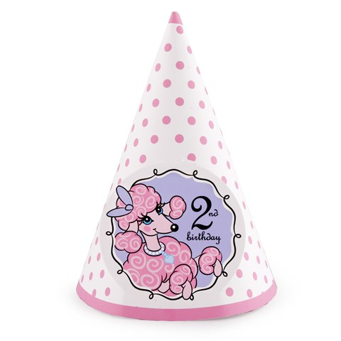 Pink Poodle in Paris 2nd Birthday Cone Hats
