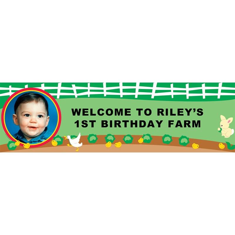 Barnyard Birthday Personalized Photo Banner