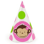 Pink Mod Monkey Cone Hats