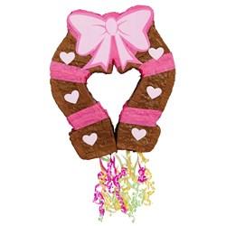 "Pink Cowgirl 19"" Pull-String Horseshoe Pinata"