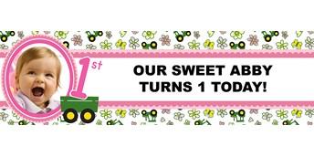 John Deere Pink Personalized Photo Vinyl Banner