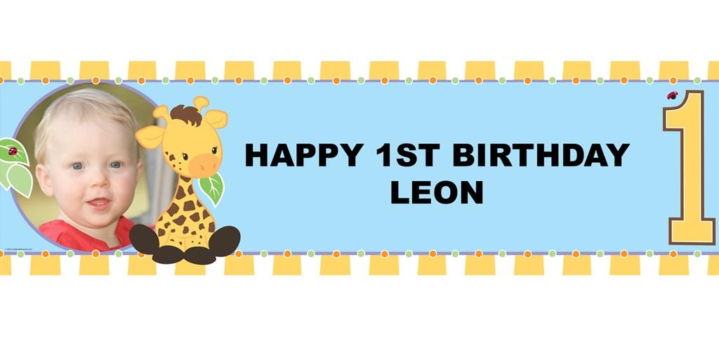 Giraffe 1st Birthday Personalized Photo Banner