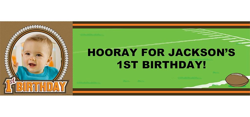 Lil' Quarterback 1st Birthday Personalized Photo Banner