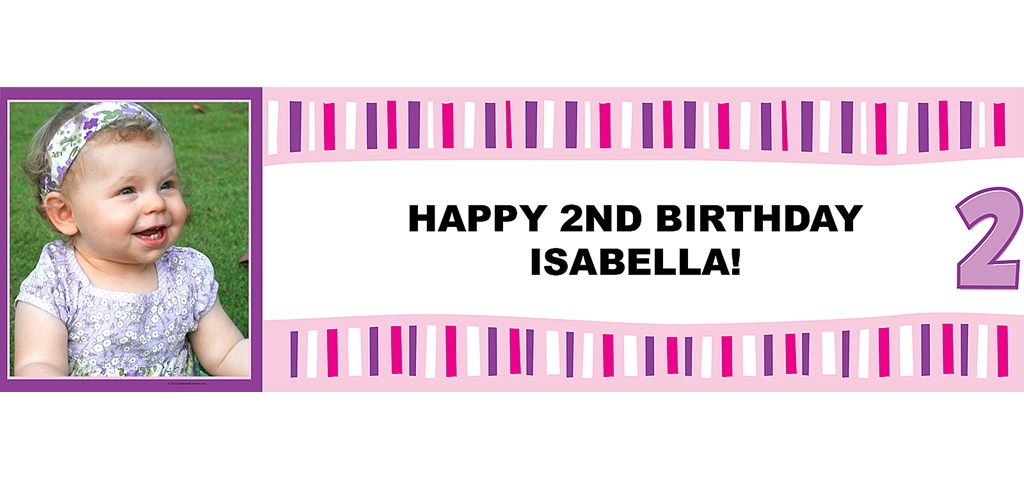 Girl's Lil' Cupcake 2nd Birthday Personalized Photo Banner
