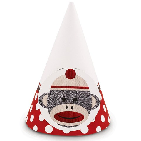 Sock Monkey Red Cone Hats