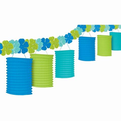 Floral Paradise Blue, Green, & Turquoise Garland Lanterns