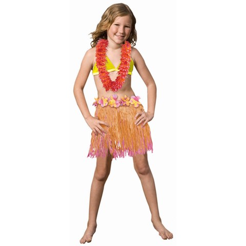 Child Two Tone Pink / Orange Grass Skirt