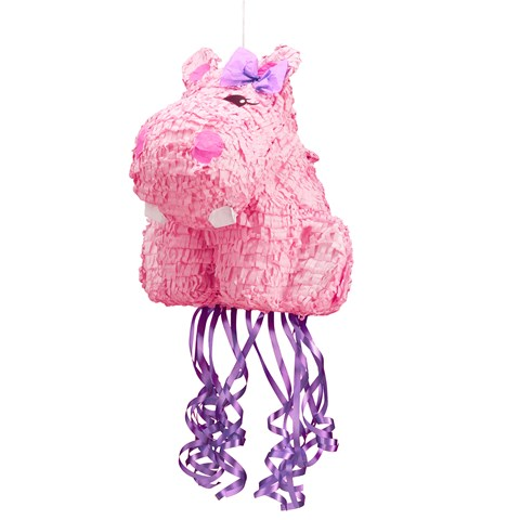 "Hippo Pink 18"" Pull-String Pinata"