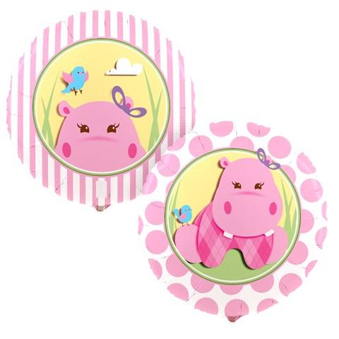Hippo Pink Foil Balloon