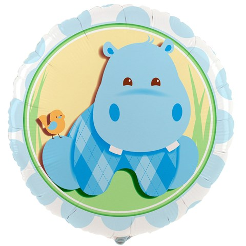 Hippo Blue Foil Balloon