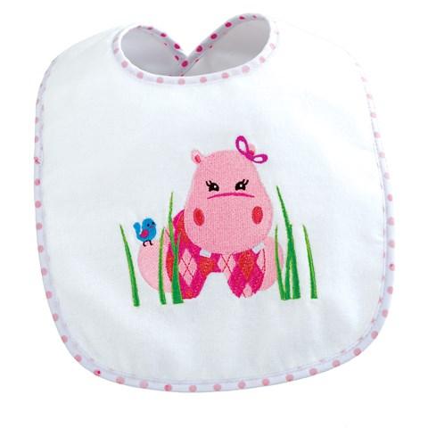 Pink Hippo Bib