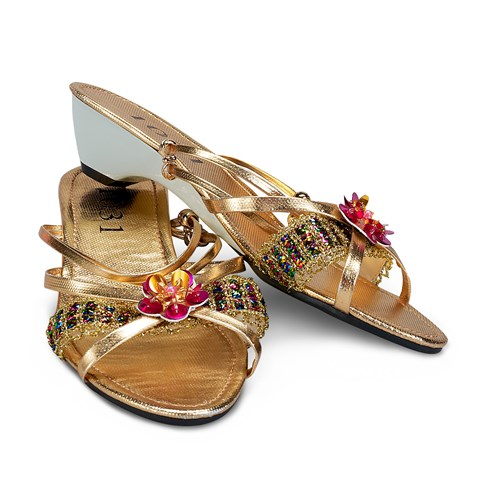 Gold Jewel Child Slippers