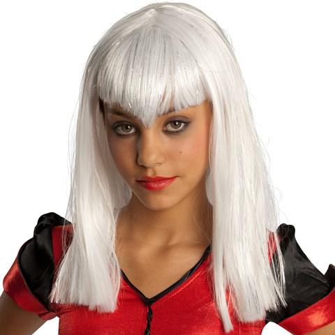 White Glitter Vamp Kids Wig