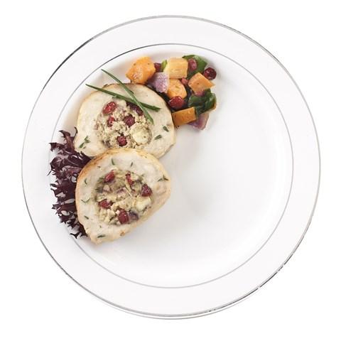 White & Silver Glimmerware Banquet Dinner Plates