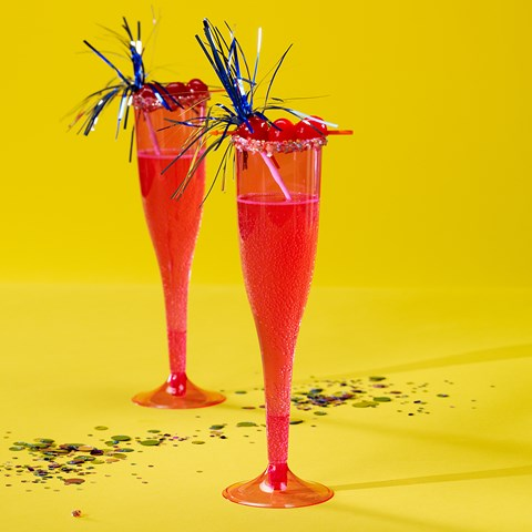 Bright Pink 5.5 oz. Premium Plastic Champagne Flutes