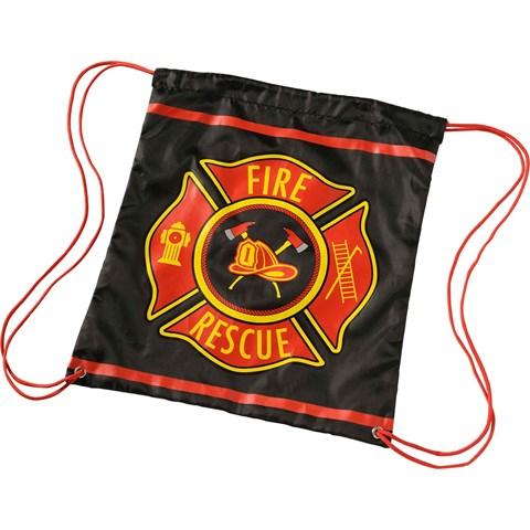 Black Firefighter Drawstring Backpack