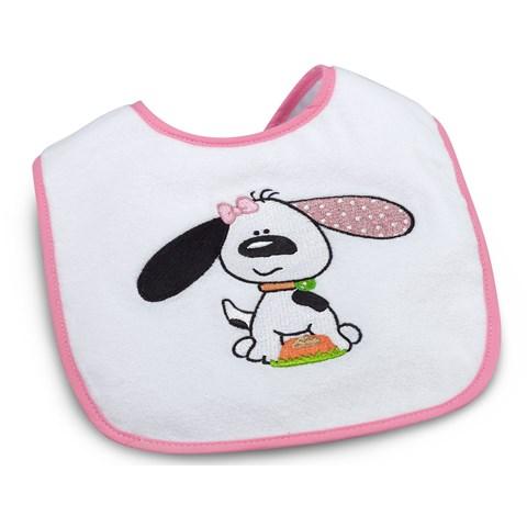 Playful Puppy Pink 1st Birthday Bib