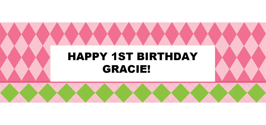 Pink Preppy Personalized Banner