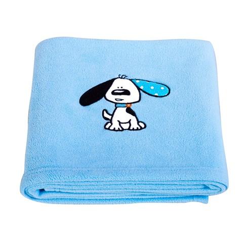 Playful Puppy Blue Applique Fleece Blanket