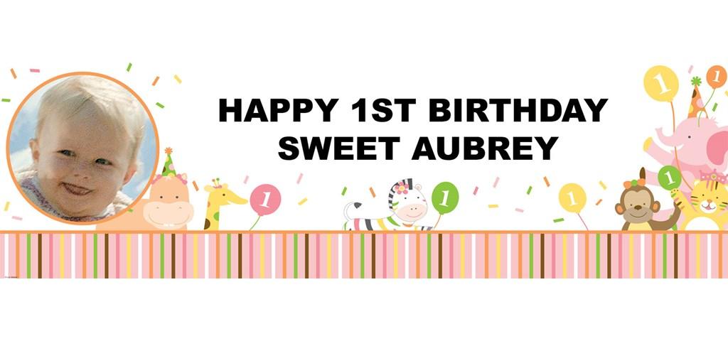 Sweet Safari Pink 1st Birthday Personalized Photo Banner
