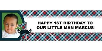 Little Man Mustache Personalized Photo Vinyl Banner
