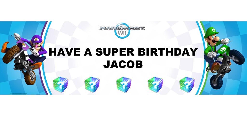 Mario Kart Wii - Luigi Personalized Birthday Banner
