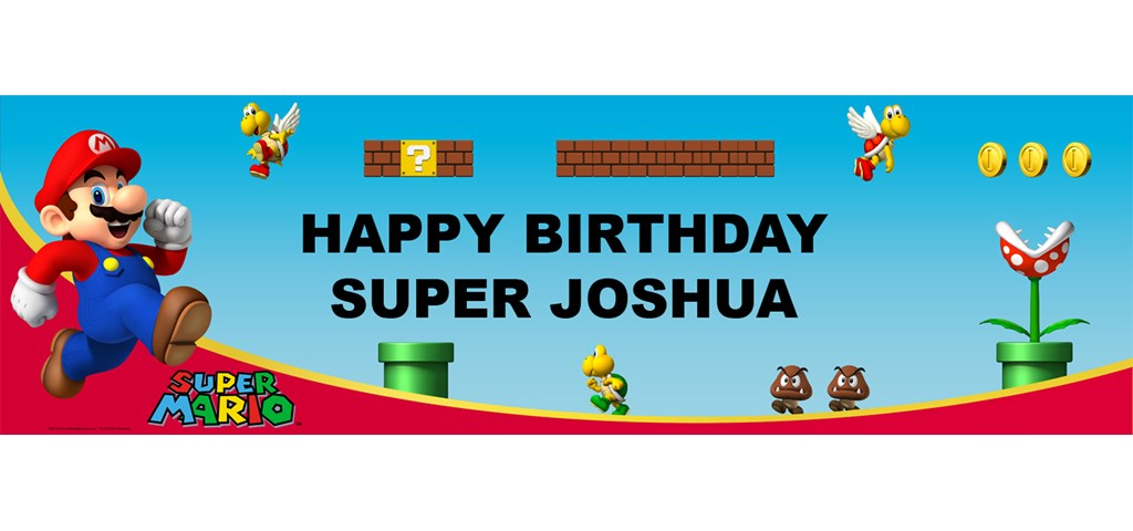 Super Mario Bros. - Mario Personalized Birthday Banner