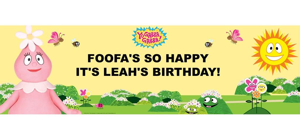 Yo Gabba Gabba! - Foofa Personalized Birthday Banner