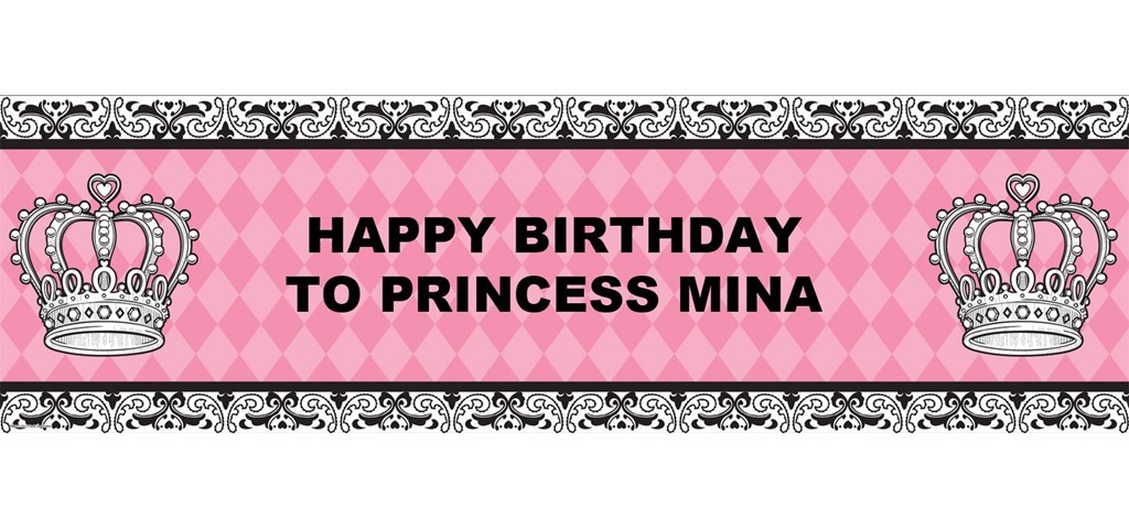 Elegant Princess Damask Personalized Banner