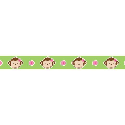 """Pink Mod Monkey Grosgrain Ribbon (7/8"""")"""